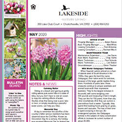 Lakeside Charlottesville Apartments May 2020 Newsletter