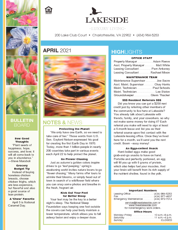 Lakeside Newsletter April 2021
