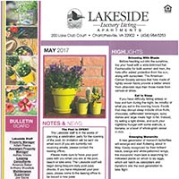 Lakeside Charlottesville Apartments Newsletter May 2017