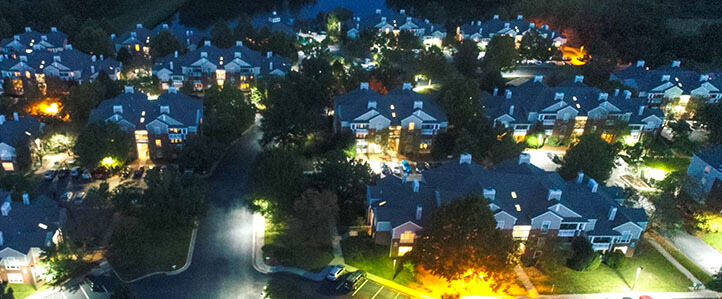 Lakeside Apartments in Charlottesville at Night